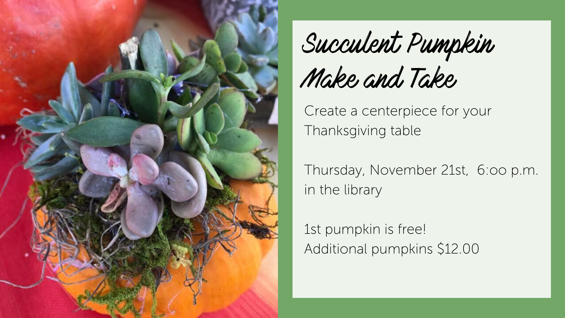 Succulent Pumpking Make and Take