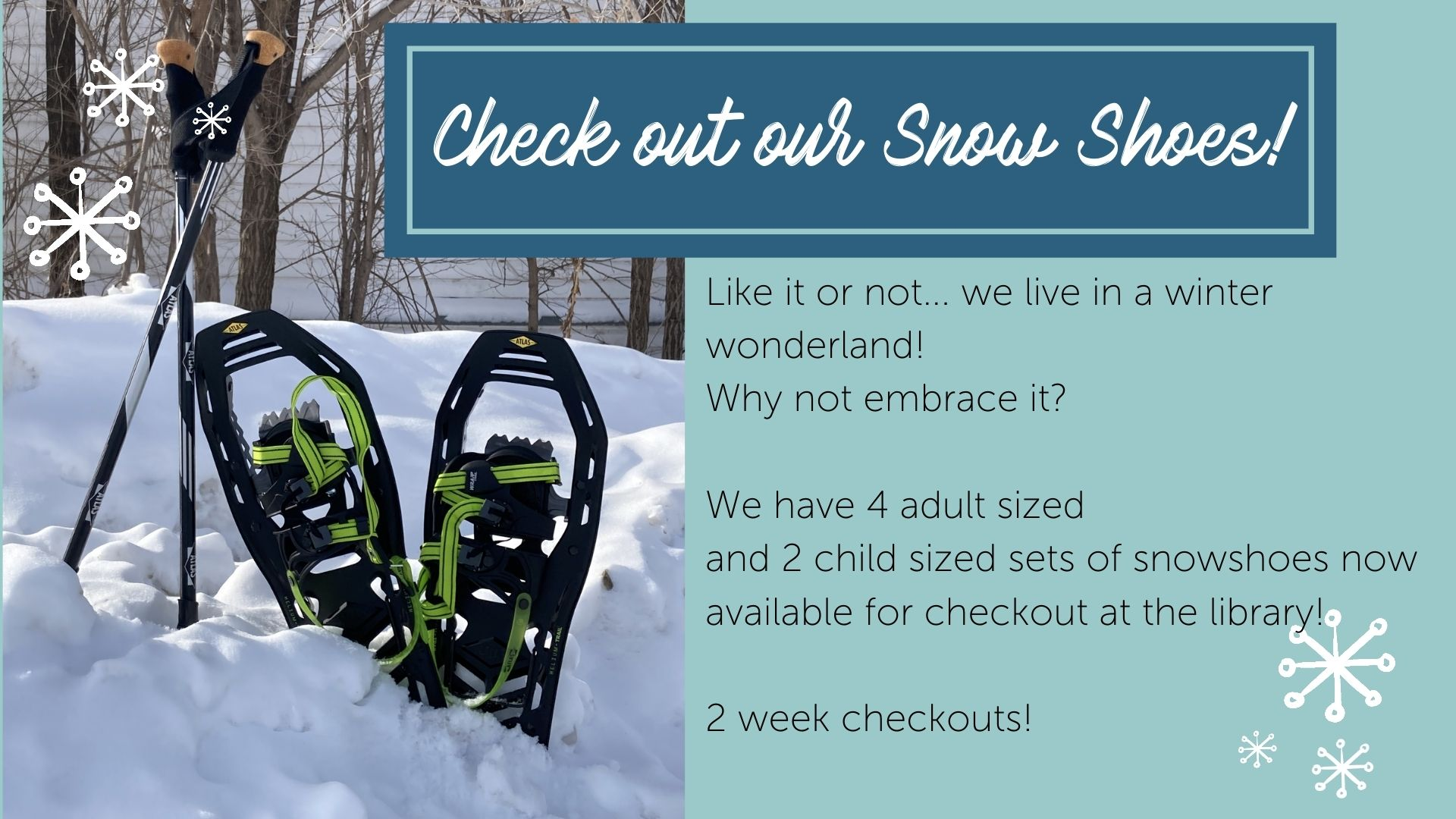 snow shoe check out ad